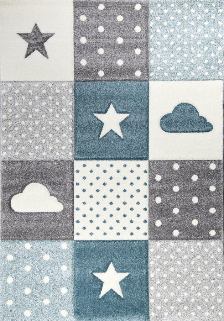 Dywan Dla Dzieci Chmurki I Gwiazdy Pastel Kids 253 Blue